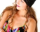 Sequin Turban Hat in Black by Mademoiselle Mermaid