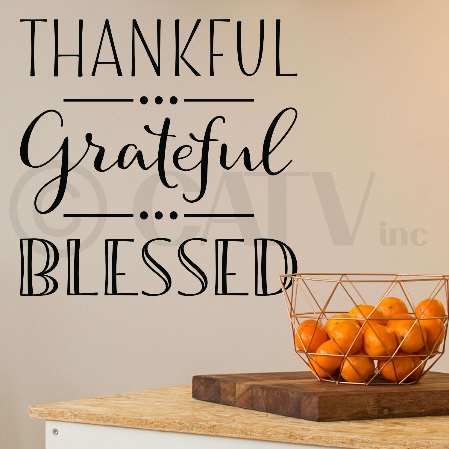 Thankful Grateful Blessed Vinyl Lettering Wall Decal Sticker