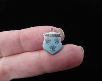 Wiesbaden, Germany City Coat of Arms- Travel Shield Charm, 835 Silver Pendant, Vintage Charm, Enamel Charm, Sterling Silver, Wiesbaden Charm