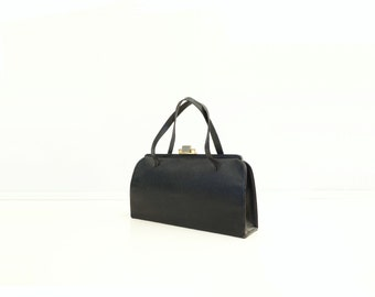 1960s Black Handbag Vintage Leather Bag Top Handle 60s Vintage Purse Large Black Handbag Vintage Cowhide Bag Black Frame Day Bag