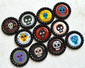 Day of the Dead Bottlecap Magnets- Strong Dia de los Muertos Magnets- Colorful Sugar Skull Magnets