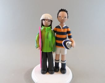 Customized Wedding Cake Topper Rugby & Snowboard Fans