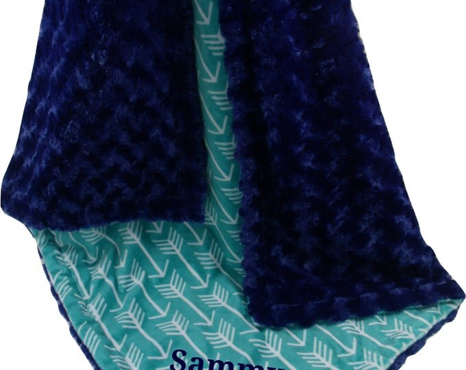 Teal Green Arrow Print with Midnight Navy Rose Swirl Minky Baby Blanket, available in three sizesCan Be Personalized