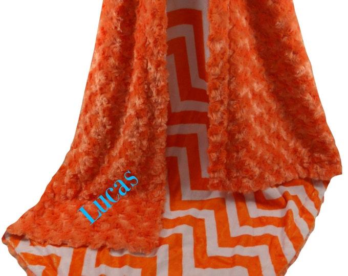 Orange Minky Baby Blanket, Personalized Baby Blanket, Embroidered Orange Chevron Swaddle Blanket,  Keepsake Blanket