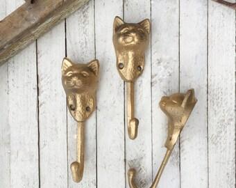 Cat Wall Hook, Iron Wall Accessories, Kitty, Cat Home Decor, Green Hook, Cat Lover, Cat Wall Art, Kitty Wall Hook