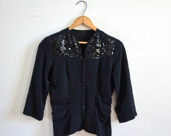 Vintage 40's Sequin Top/ Covered Buttons/ 1940s Black Rayon Blouse / Size Small