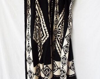 Vintage Boho Hippie Skirt Indian Black White Geometric Print Sequined Cotton
