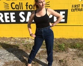 Vintage High Waist Blue Jeans Zip Up Bottom Leather Pocket Boho Hipster Denim Size 13 Long Jordache 1970s 1980s