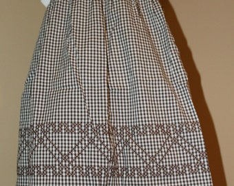 Vintage Kitchen Half Apron, Brown and White Gingham with Counted Cross Stitch Decor