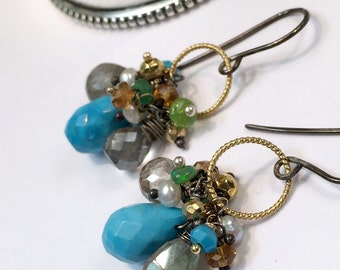 Turquoise Earrings Colorful Gem Cluster Earring Wire Wrap Opal Labradorite Gemstones Mixed Metal Gold Oxidized Silver Petite Cluster Earring