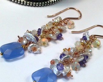Blue Chalcedony Earrings Colorful Gem Opal Cluster Earring Rose Gold Chain Dangle Boho Earring Pastel Cluster Tanzanite Sapphire Earring