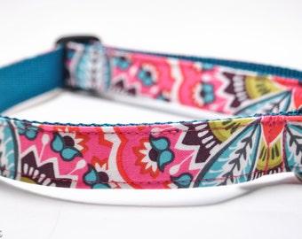 Pink Flower Dog Collar / Dixie / Floral Custom Dog Collar / Tulip