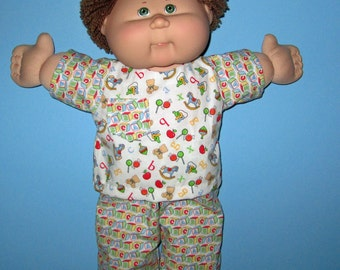 Cabbage Patch Kids, Doll Clothes, Rocking Horse, ABC Pajamas , 15  16 Inch Doll Clothes, Vintage Classic Play along