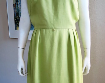 1960s Lime Green Linen Dress - Large