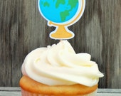 Back to School Party - Set of 12 School Globe Cupcake Toppers by The Birthday House