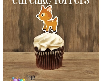 Forest Friends Party - Set of 12 Baby Deer Cupcake Toppers by The Birthday House