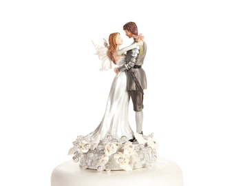 Rose and Pearls Fantasy Fairy Wedding Cake Topper (Silver or Gold) - Custom Painted Hair Color Available - 101160