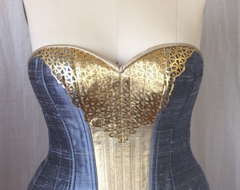 """SALE Hourglass Overbust Corset 36"""" Waist, steel boned plus size in blue silk, gold leather, avant garde burlesque, Fantasy couture fashion"""