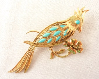 Antique 14K Gold Filigree and Turquoise Cockatiel Brooch