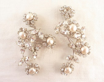 Vintage Rhinestone and Pearl Silver Tone Flowers Clip On Earrings