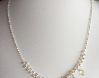 Necklace — Polished Pastel Stones with Freshwater Pearls