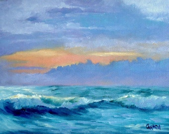 Sunrise on Surf, 6x8 Seascape on Canvas Panel, Daily painting