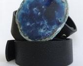 Blue clouds agate belt buckle