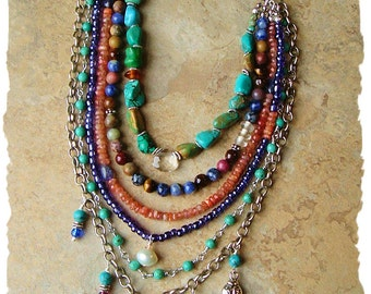 Festival Of Nature, Multiple Strand Rustic Gemstone Necklace, Boho Style Necklace, Bohemian Jewelry, BohoStyleMe, Kaye Kraus