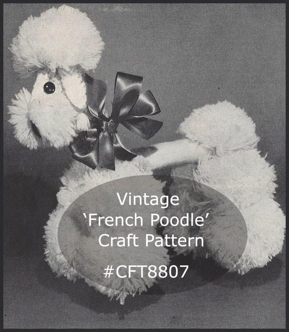 French poodle craft crochet and pom poms poodle dog craft for Pom pom craft patterns