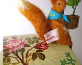 Original Needle Felted Animals Squirrel with Acorn Seedling