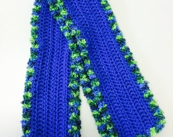 Royal blue crocheted scarf