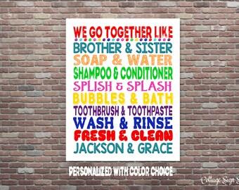 Brother & Sister Bathroom, Custom Colors, DIGITAL DIY PRINTABLE, Brother and Sister Bathroom Art, Jack and Jill Bathroom,Kids Bathroom Art