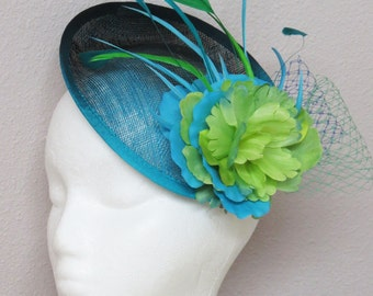 Blue fascinator Turquoise fascinator Hat black blue ombre green fascinator hat PURE SPRING