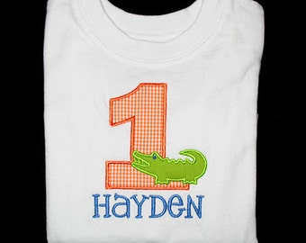 Custom Personalized Applique Birthday Number ALLIGATOR and NAME Shirt or Bodysuit  - Orange Gingham, Lime Green, and Capri Blue