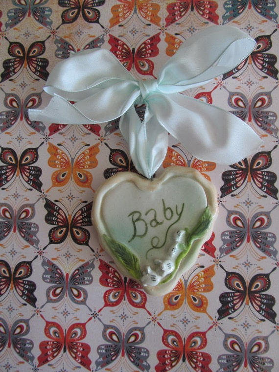 Baby Lily Of The Valley Ceramic Heart Wall Hanging