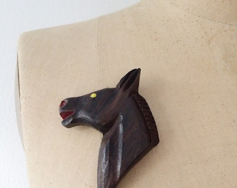 1940s brooch / wooden horse brooch / Carrington brooch