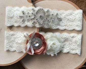 Custom Wedding Garter Set, Ivory Wedding Garter Set, Vintage Garter Set, Lace Garter Set, Bridal Garter Set, Vintage Garter