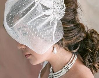 Wedding Birdcage Veil with Crystal and Pearl Applique, Point d'Esprit Birdcage Veil, Mini Birdcage Veil