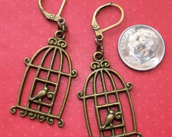 BIRD In BIRD CAGE Charm Bronze Plated Lever Back Earrings Bohemian Hippie