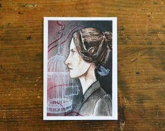 Jane Eyre Postcard. Print watercolor red and black illustration from the novel Jane Eyre by Charlotte Brontë. Gift for book lovers