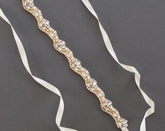 Gold Crystal Bridal Sash   Thin Pearl Sash Belt   Rhinestone Wedding Sash   Skinny Beaded Bridal Sash [Pippa Sash]