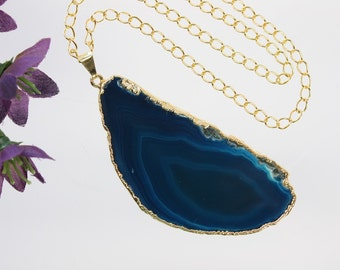 Blue Agate Pendant, Agate Necklace, Agate Slice, Boho Jewelry, Gold Plated Agate, Layered Necklace, Boho Necklace, APS75