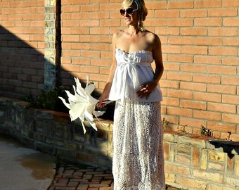 Maternity-Lace Wedding Skirt-Bridal Skirt-Wedding Separates-Two Piece Wedding Dress-Hand Crochet Lace Couture Pineapple Maxi-Pregnant Bride