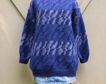 Oversized vintage Christian Dior Purple and Blue Patterned Mohair Blend Long Slouchy Sweater