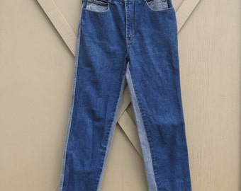80s vintage Jordache Two-Tone Dark Blue and Light Grey Denim High Waist Tapered Leg Jeans