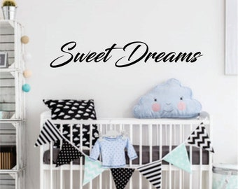 Sweet Dreams wall decal - baby nursery decals - vinyl decal for bedroom wall - sweet dreams - fancy script style vinyl letters - dorm room