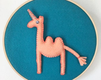 Embroidery hoop - modern whimsical decor or baby shower gift - Camelcorn hoop - all hand sewn - peacock and guava felt colors - OOAK