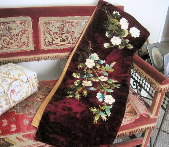 Antique velvet runner chenille french embroidered