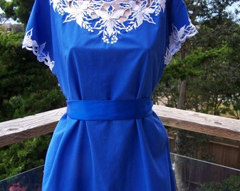 Embroidered Dress, Blue dress, Cutwork dress, Blue + white dress, Party dress, size L