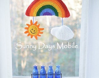 Crochet pattern baby mobile hanging Sunny Days Rainbow Sun Cloud crochet patterns for baby room decorations boy or girl INSTANT PDF DOWNLOAD